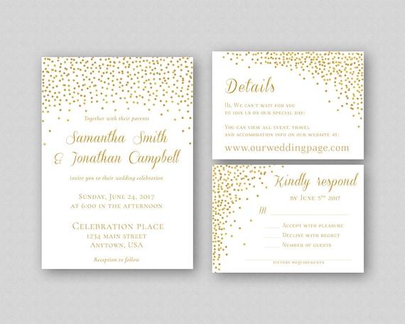 Gold Glitter Wedding Invitation Template Printable Wedding Etsy