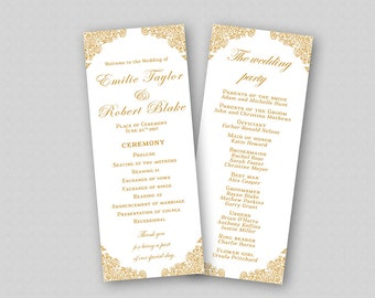 Printable Wedding Program Template DIY, Order of Ceremony Program, Wedding Party, Instant Download - Ornate Gold Wedding Program Printable