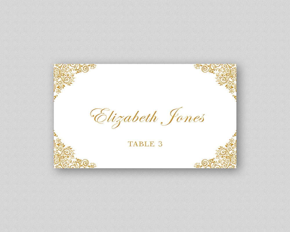 Gold Wedding Place Card Template, Printable Wedding Place Cards, Escort  Cards, Guest Name Cards, Elegant Place Cards - Gold Corner Ornaments With Microsoft Word Place Card Template