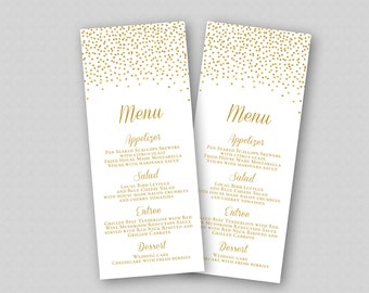 Wedding Menu Template - Gold Wedding Menu Printable Template - Editable with Microsoft Word -  Gold Glitter Sparkles Confetti Dots Bubbles