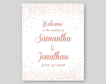 Printable Wedding Welcome Sign, Rose Gold Wedding Welcome Sign Template, Rose Gold  Wedding Reception Sign, Glitter Sparkles Confetti Dots