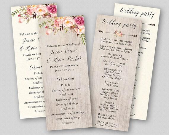 Boho Hochzeit Programm Vorlage Reihenfolge Der Zeremonie Etsy