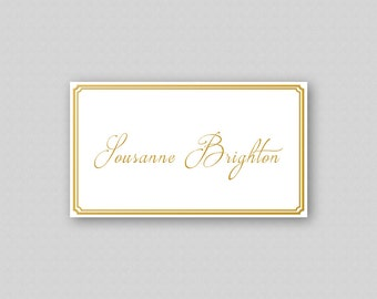 Printable Place Cards ready made, Gold Wedding Place Cards Printable, Gold Place Cards, Name Cards, Wedding Escort Cards - Gold Border Frame