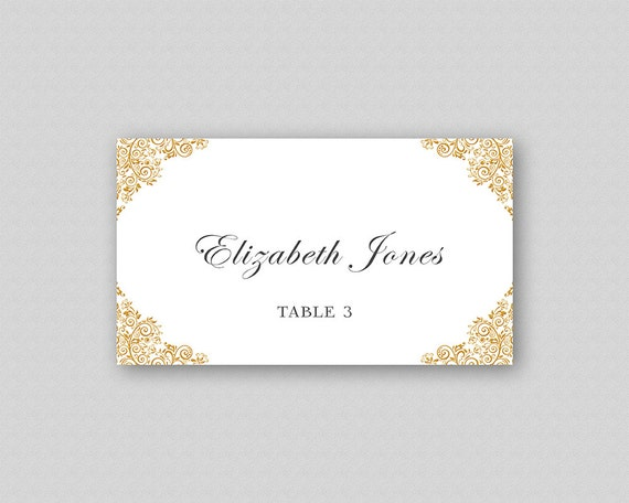 image regarding Printable Wedding Place Cards referred to as Gold Wedding ceremony Destination Card Template, Printable Wedding ceremony Level Playing cards, Escort Playing cards, Visitor Reputation Playing cards, Stylish Destination Playing cards - Gold Corner Ornaments