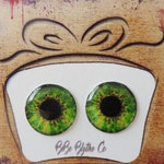 Blythe Middie and Pullip Doll Eyes Realistic Resin Chips in Green Custom Customize OOAK Artist Art Doll A16