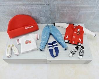 Custom Blythe Boy Sport Outfit, Blythe Shoes, Blythe Clothes, Blythe Socks, Blythe Beanie, BeBe Blythe, Blythe Dolls, Clothing