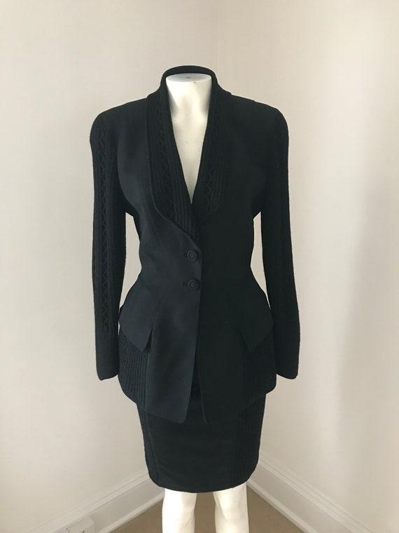 Sharp Thierry Mugler 1980s Black suit