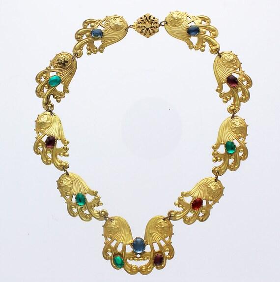 Miriam Haskell Russian Gilt Floral Gemstone Neckla