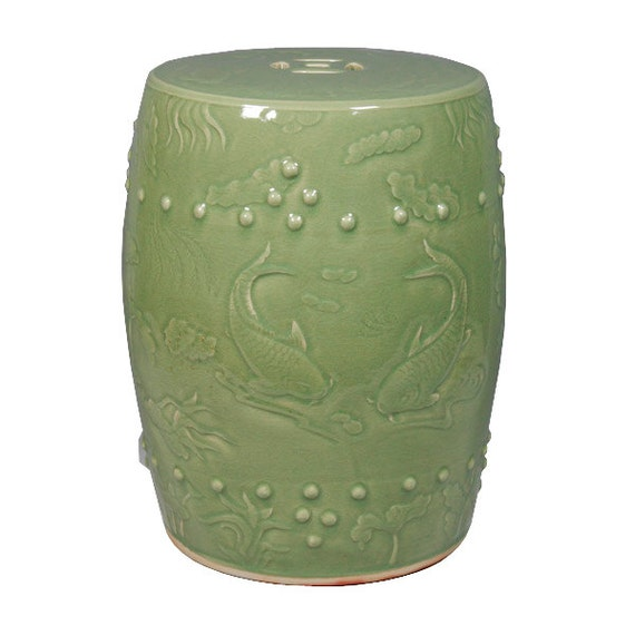 Green Traditional Handmade Chinese Porcelain Garden Stool   Long Quan  Carved Fish Garden Stool