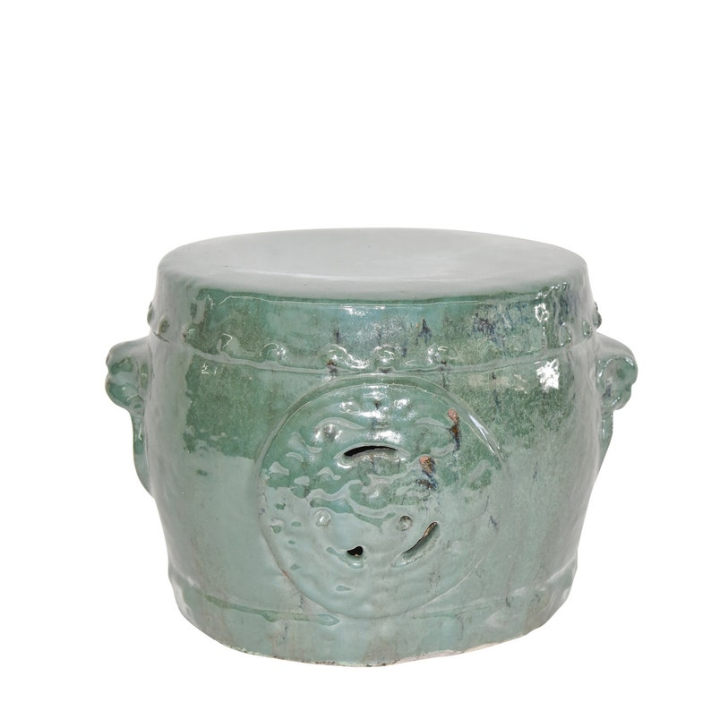 Vintage Style Chinese Garden Stool   Turquoise Dragon Medallion