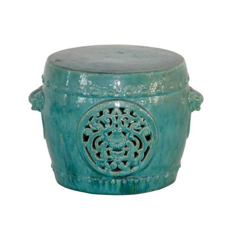 Vintage Style Chinese Garden Stool Turquoise Dragon Etsy