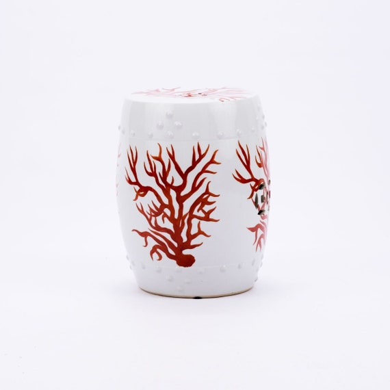 Brilliant Red And White Handmade Chinese Porcelain Garden Stool Coastal Contemporary Coral Patio Stool Beatyapartments Chair Design Images Beatyapartmentscom