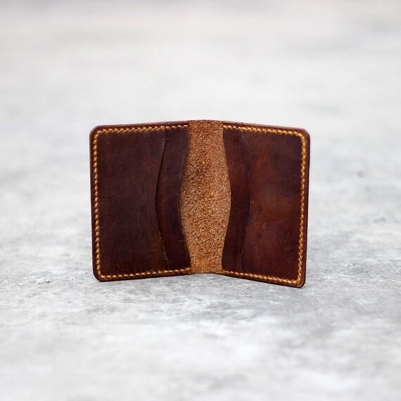 6b17cf917c7f Custom leather case bifold card wallet minimalist credit card holder front  pocket wallet slim card case Leather card sleeve groomsmen gift
