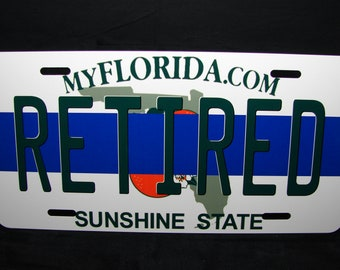 Thin Blue Line Police Retired Metal Novelty License Plate