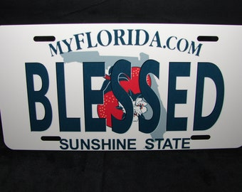 BLESSED FLORIDA METAL LICENSE PLATE TAG FOR CARS FLORIDA STATE LICENSE PLATE