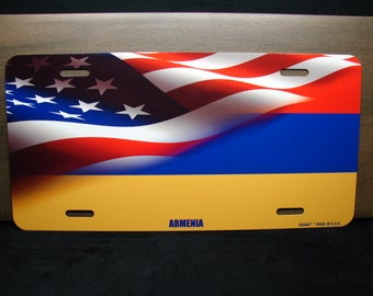 BRGiftShop Personalize Your Own Mixed USA and Greece Flag Car Vehicle 6x12 License Plate Auto Tag
