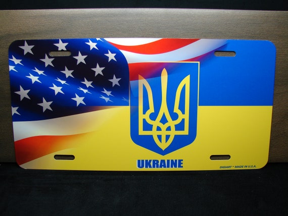 Ukraine Ukrainian Flag Emblem Screw On Car License plate Decal  badge