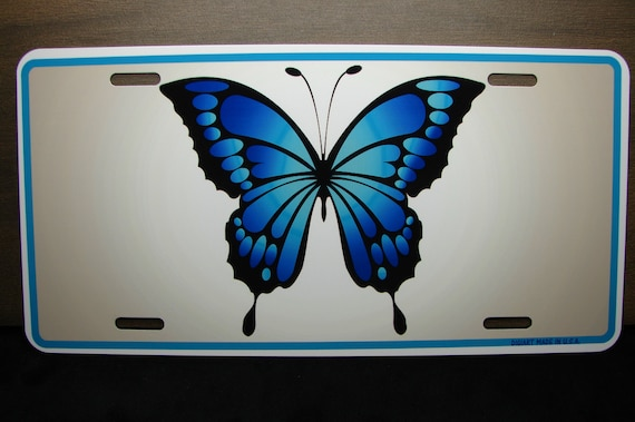 BUTTERFLY METAL NOVELTY LICENSE PLATE TAG FOR CARS