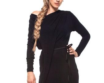 4483c766e9 Long Loose Black Maxi Wool Knit Sweater Dress Off Shoulder