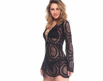 9237f0a95063c Lace Beach Slip Dress/Tunic, Long Bell Sleeves Boho Wedding Mini Dress,  Sexy Short Bodycon Black/White Crochet Lace Dress by Astrea