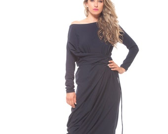 506fadfaab8a4 Plus Size Maxi Dress, One Shoulder Dress, Navy Blue Dress, Plus Size  Clothing, Shift Dress, Sexy Dress, Loose Style, Long Sleeve Dress
