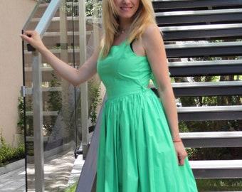 Maxi Summer Dress, Green Cotton Dress, Long Cotton Dress, Emerald Dress, Sleeveless Dress, Party Dress, Boho Chic Dress, Bohemian Clothing