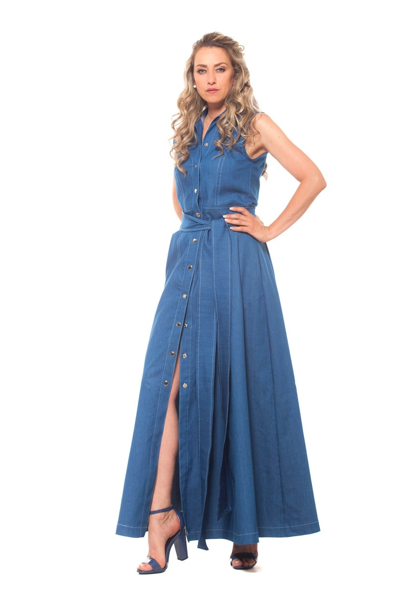 Maxi Dress, Denim Dress, Shirt Dress, Plus Size Clothing, Blue Dress Women,  Loose Style, Floor Length Dress, Jeans Dress, Button Down Dress