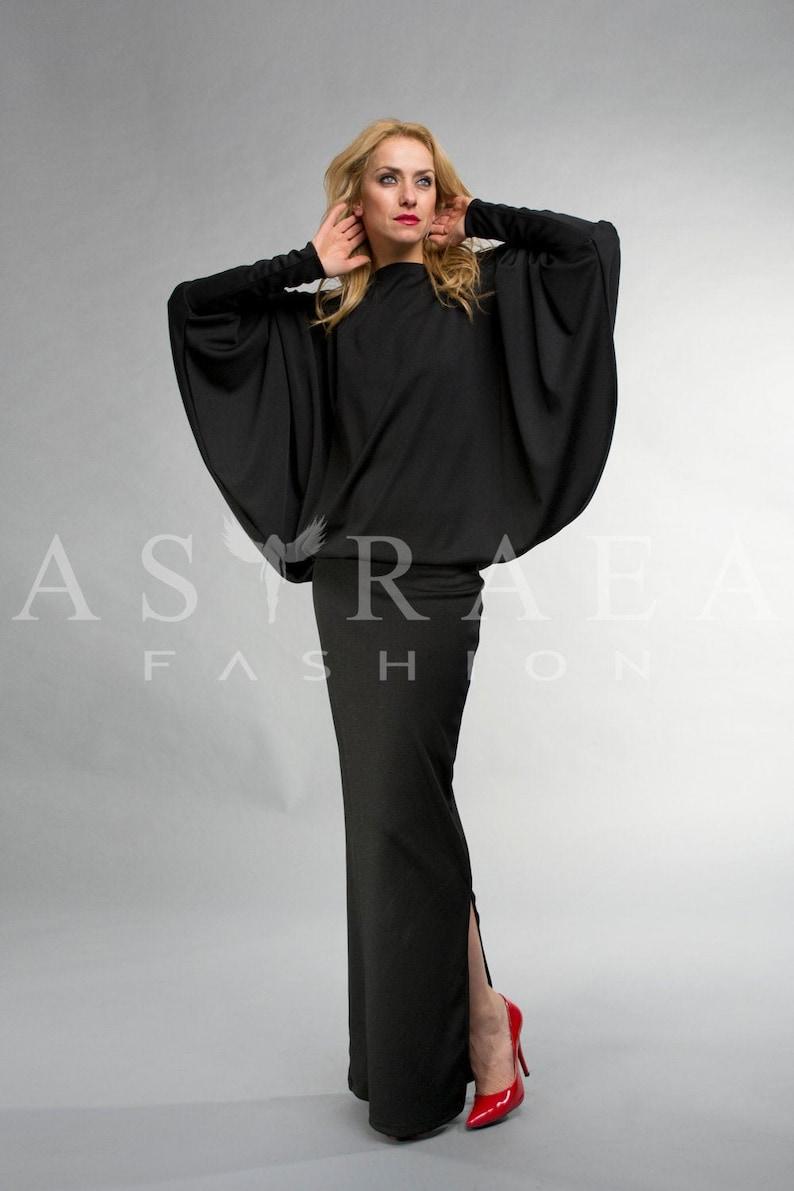 Backless Dress, Black Maxi Dress, Formal Dress, Batwing Dress, Long Black  Dress, Plus Size Clothing, Evening Dress, Long Sleeve Dress