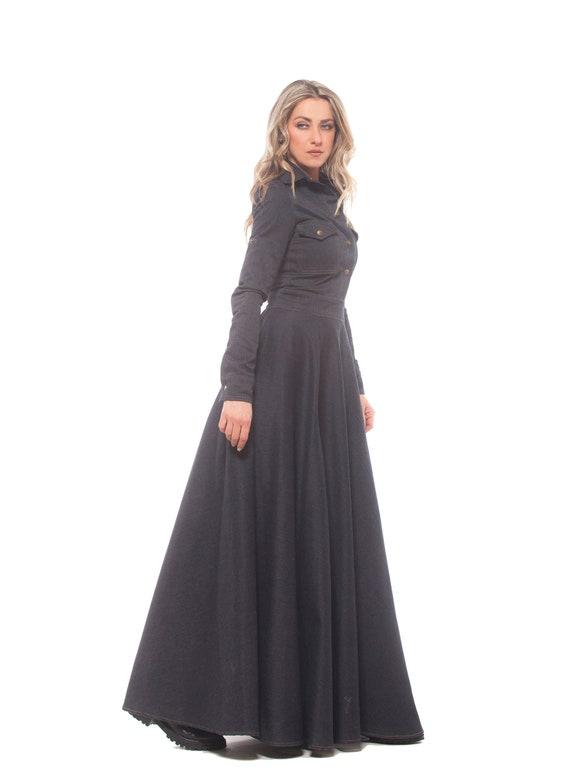 Denim Maxi Dress, Black Maxi Dress, Shirt Dress, Plus Size Clothing, Gothic  Dress, Long Sleeve Dress, Black Cotton Dress, Floor Length Dress