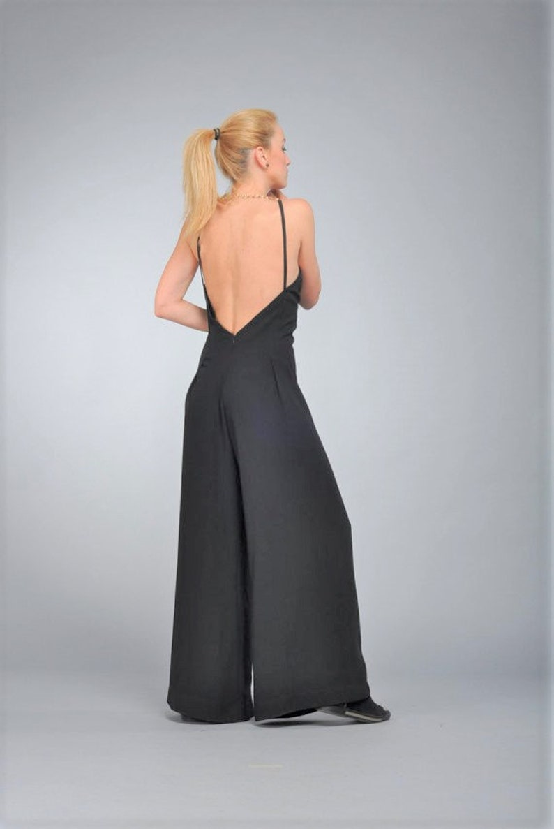 76488beaaad Sexy Loose Black Womens Jumpsuit Overall Maxi Summer Wide