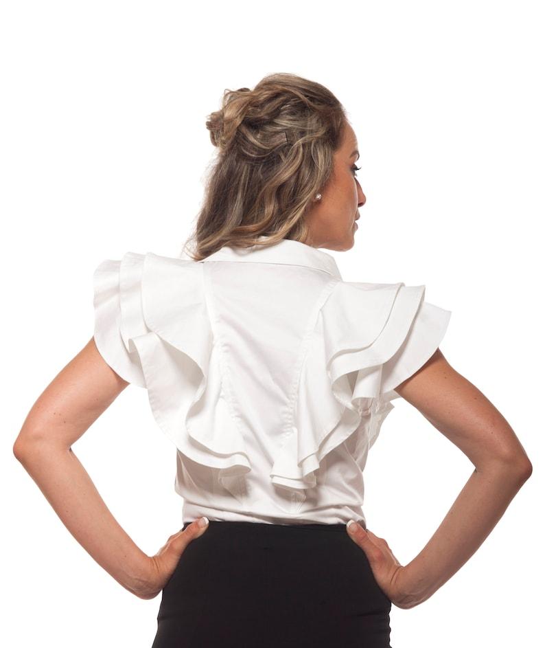 Plus Size Clothing Formal Shirt,Elegant Shirt White Summer Shirt Ruffle Shirt Frill Shirt White Shirt Women Collar Shirt Button Shirt