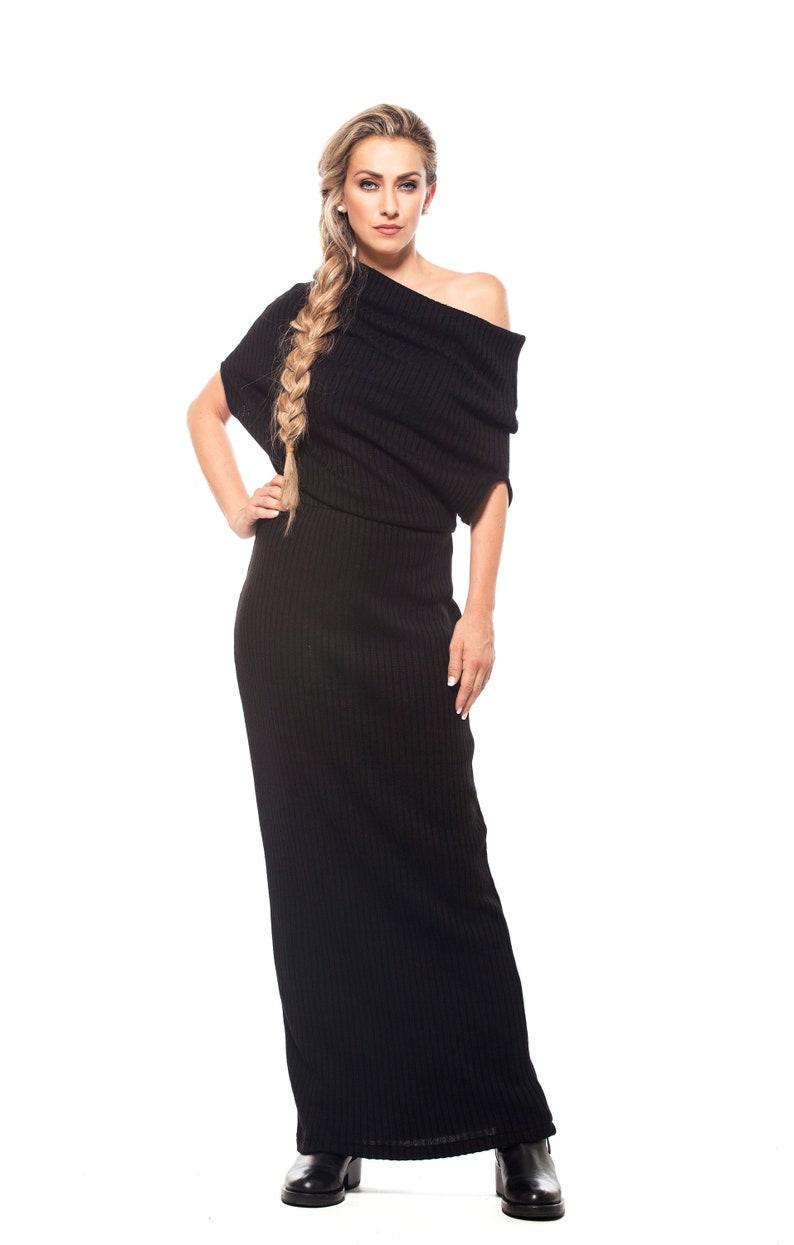 cb0529251b71 Long Loose Black Maxi Wool Knit Sweater Dress Off Shoulder