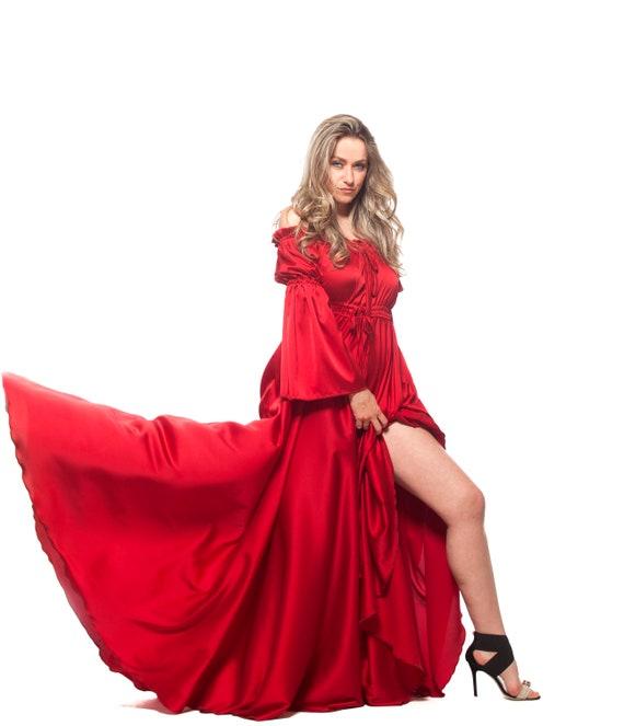 Red Dress, Maxi Dress, Formal Dress, Plus Size Clothing, Red Gown, Long  Dress, Bohemian Dress, Red Wedding Dress, Victorian Dress, Loose