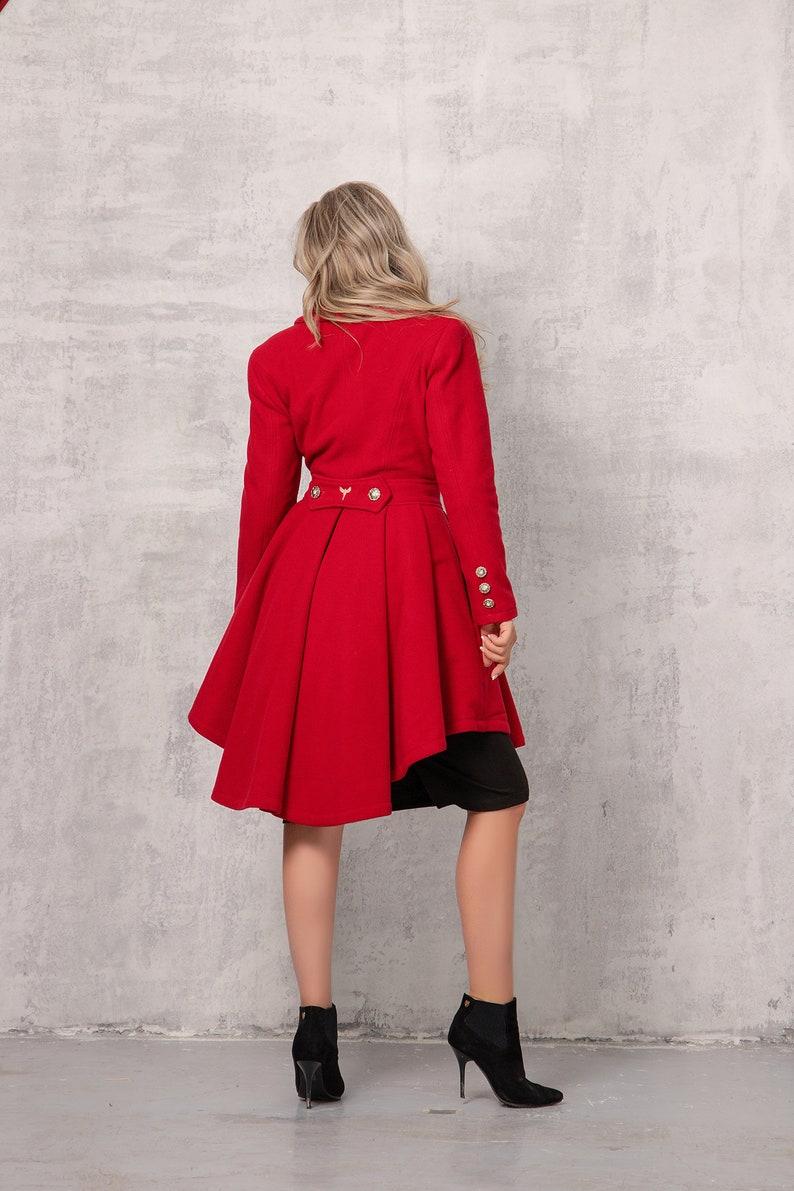 Steampunk Jacket   Steampunk Coat, Overcoat, Cape     NEW Coat Dress in Red Cashmere Coat Fit and Flare Coat Asymmetric Coat Plus Size Clothing Wool Winter Coat Designer Coat Rockability $249.00 AT vintagedancer.com