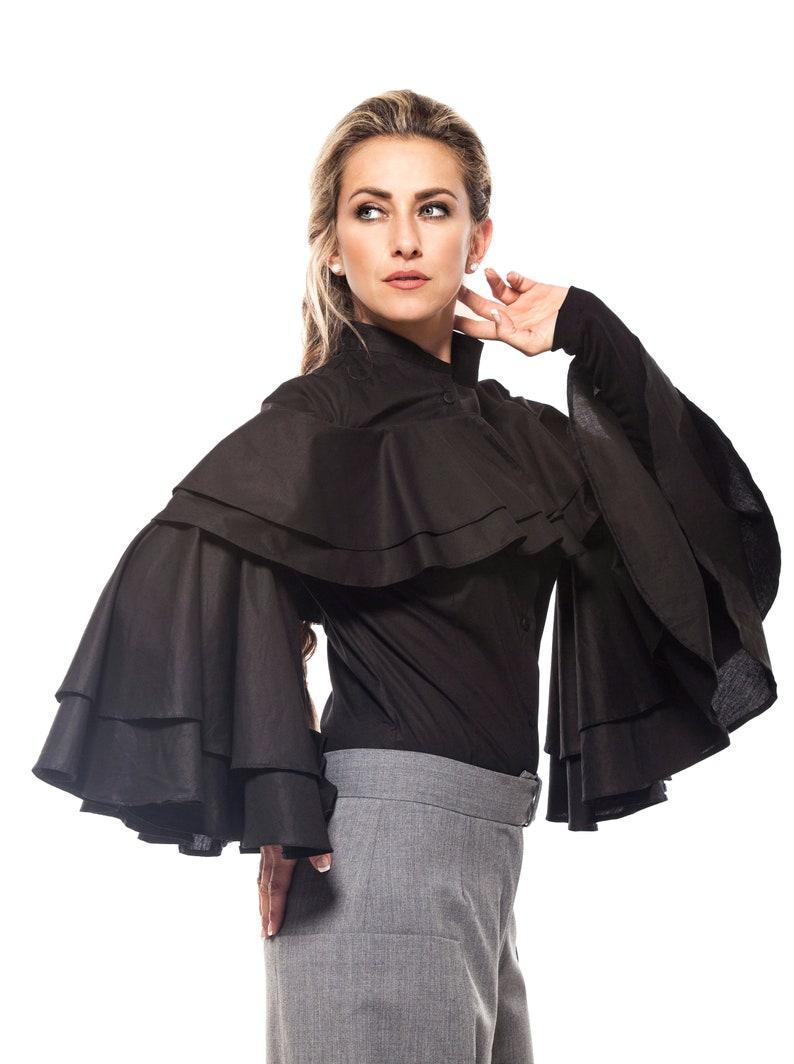 539f7c99dbc68 Black Ruffle Blouse Long Sleeve Cotton Shirt Top Plus Size
