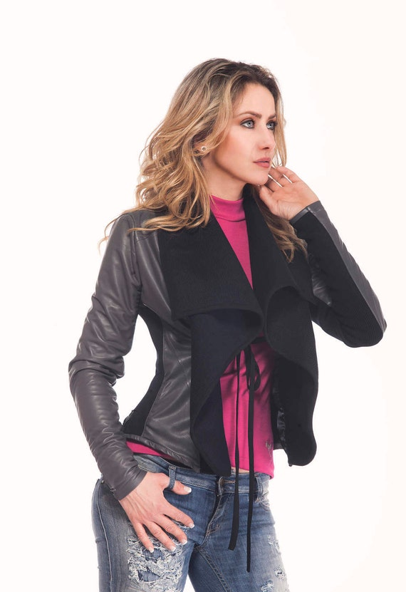 ec1d8407f Short Black-Gray Real Leather Jacket, Asymmetrical Coat, Plus Size  Extravagant Designer Leather No Zipper Coat by Astraea