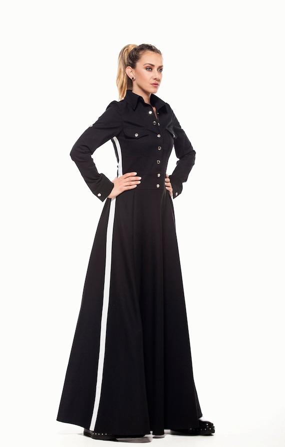 Maxi Dress, Black Dress, Plus Size Clothing, Long Sleeve Dress, Gothic  Dress, Shirt Dress, Long Dress, Floor Length Dress, Cotton Dress