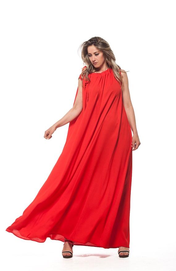 Red Dress Women, Plus Size Maxi Dress, Loose Dress, Plus Size Clothing,  Boho Red Dress, Red Kaftan, Sleeveless Dress, Red Maxi Summer Dress