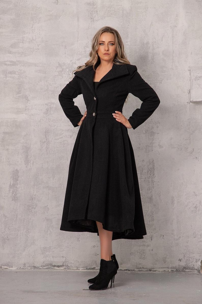 1950s Coats and Jackets History NEW COLLECTION Black Dress Coat Wool Coat Women Asymmetric Coat Avantgarde Clothing Winter Outerwear Long Black CoatFit and Flare Coat $269.00 AT vintagedancer.com