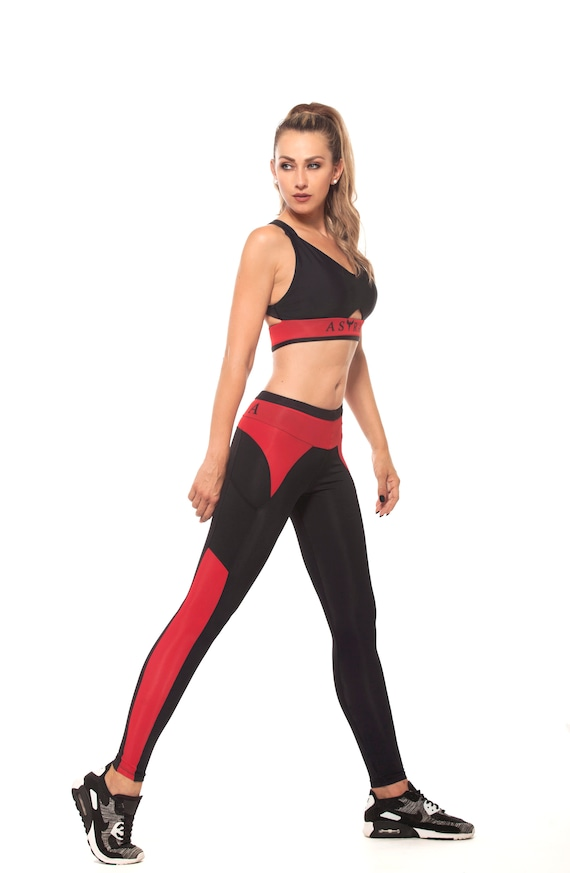sale uk good service on feet images of Activewear Set Sports Bra+Black Leggings/Yoga,Fitness Workout, Running,  High Intensity Cardio Gym Set