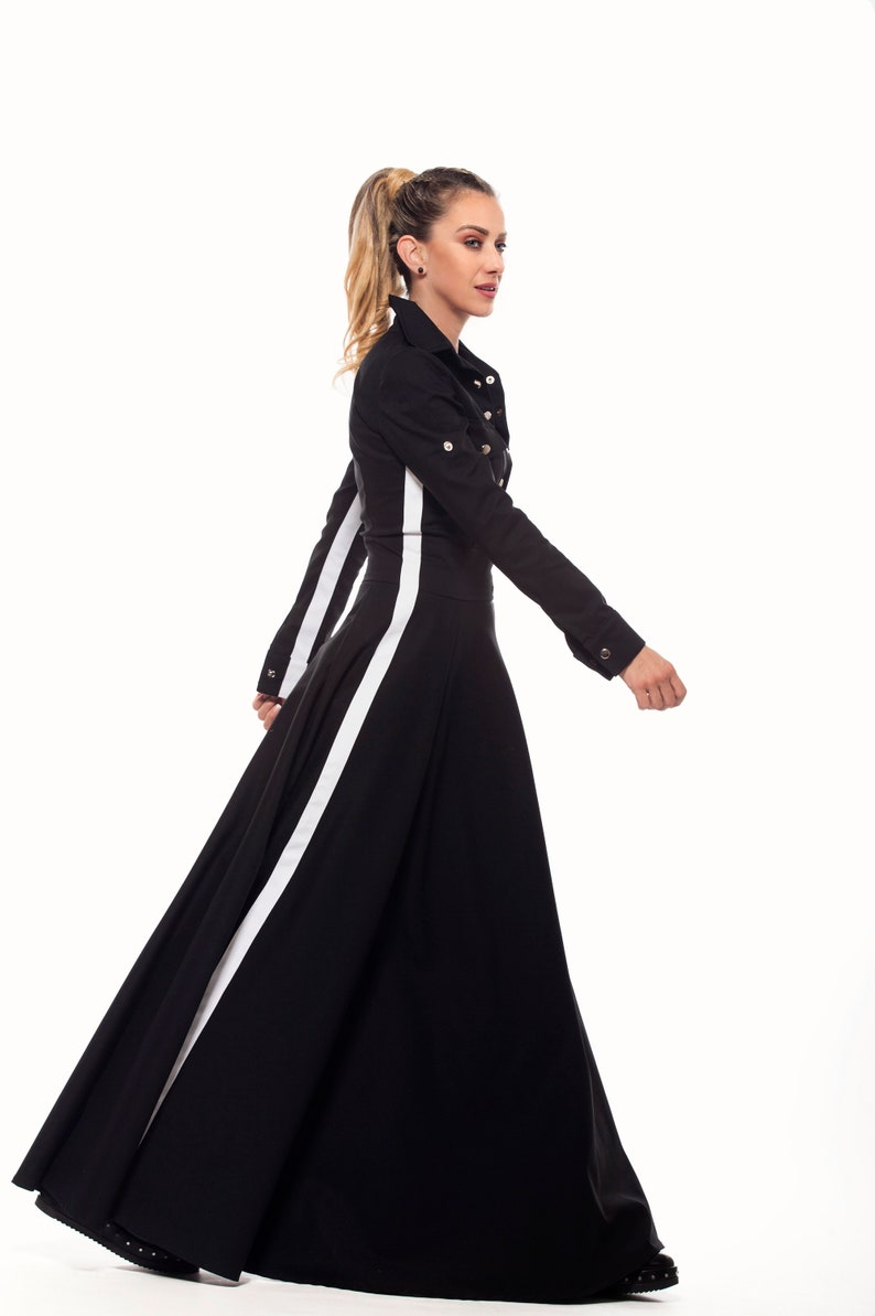 Long/Maxi Black Cotton Fit and Flare Plus Size Spring Dress, Floor Length  Long Sleeve Striped Sporty Party Shirt Dress