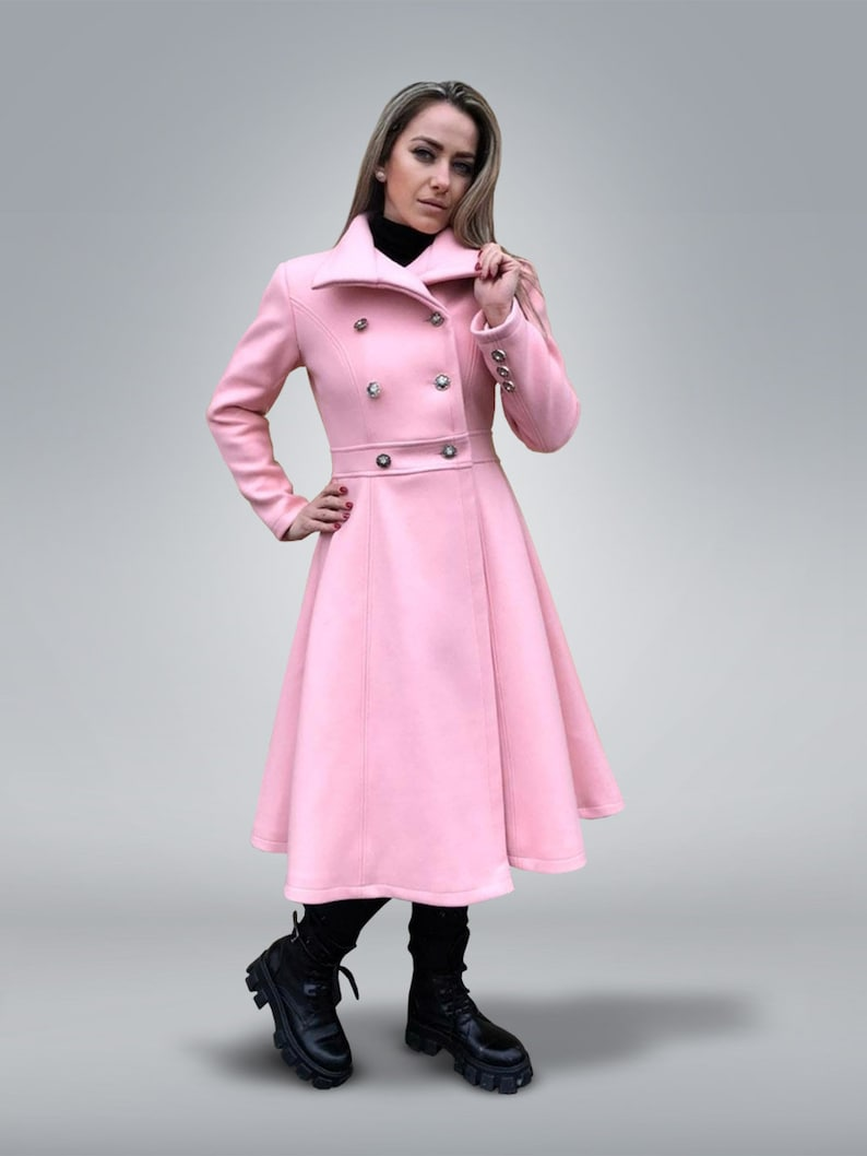1950s Coats and Jackets History Fit and Flare Coat Pink Coat Women Double-Breasted Coat Cashmere Coat Winter Wool Coat Plus Size Pink Coat Custom Cashmere Coat $233.10 AT vintagedancer.com