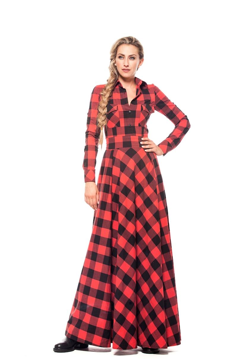Shirt Dress Plaid Dress Plus Size Clothing Maxi Dress | Etsy