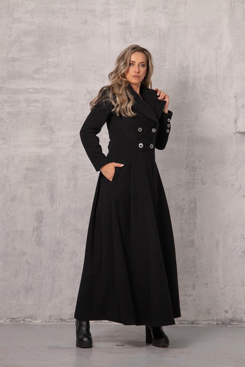 Vintage Coats & Jackets | Retro Coats and Jackets NEW Wool Long Coat in Black Princess Coat Plus Size Clothing Black Goth Coat Natural Coat Floor Length Coat Maxi Coat Women Cashmere $289.00 AT vintagedancer.com
