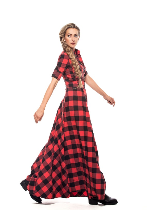 Shirt Dress, Plaid Dress, Plus Size Clothing, Maxi Dress, Tartan Dress,  Long Shirt Dress, Red Maxi Dress, Cotton Dress, Floor Length Dress