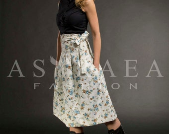 Floral Midi Skirt,Party Dress, Maxi Ball skirt, Maxi Dress,Skirt With Pockets by Astraea