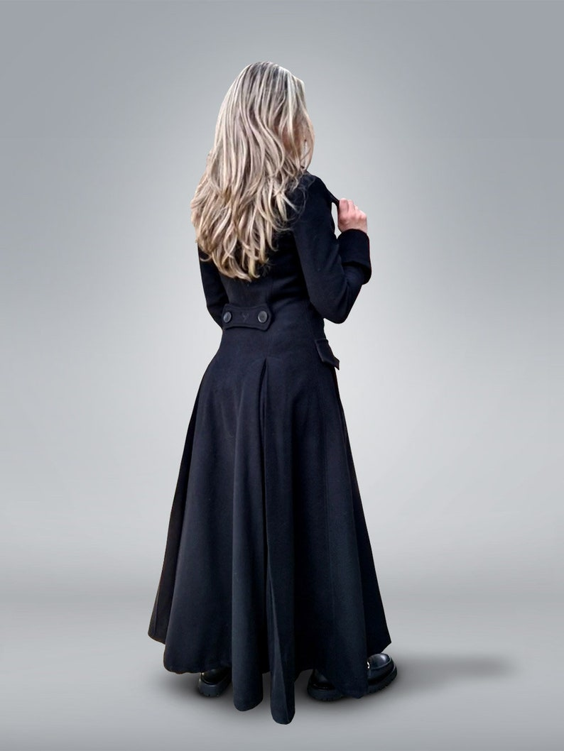 Victorian Clothing, Costumes & 1800s Fashion Victorian Coat Princess Coat Black Wool Coat Plus Size Clothing Fit and Flare Coat Gothic Clothing Double Breasted Coat Maxi Coat $296.10 AT vintagedancer.com