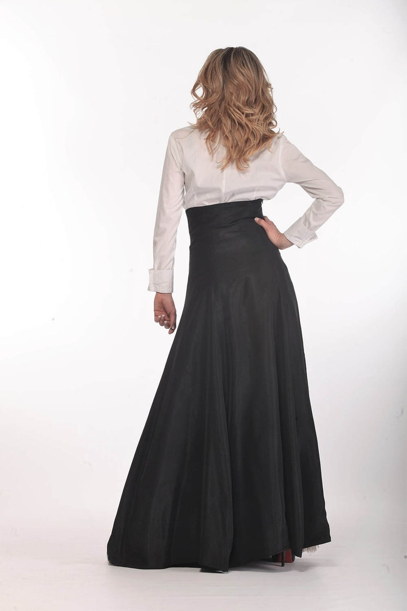 a7473f16dc8 Black Maxi Skirt, Taffeta Skirt, High Waist Skirt, Women Skirt, Gothic  Clothing, Plus Size Skirt, Long Black Skirt, Loose Styles, Formal