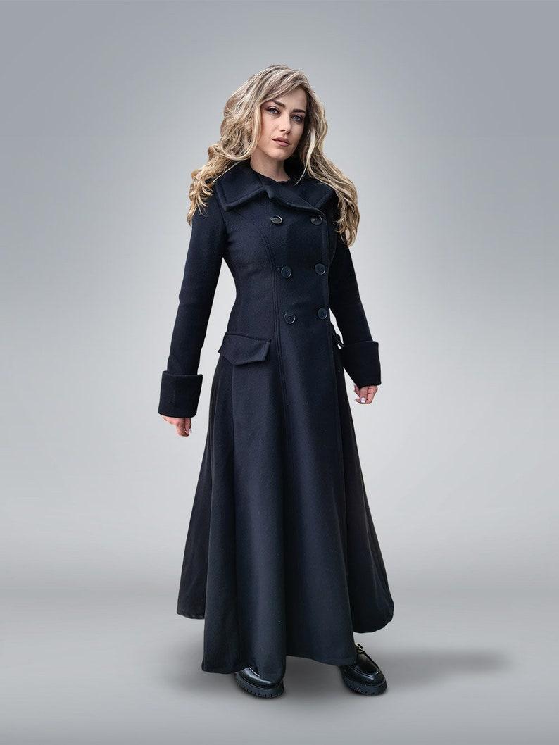 70s Jackets, Furs, Vests, Ponchos     Victorian Coat Princess Coat Black Wool Coat Plus Size Clothing Fit and Flare Coat Gothic Clothing Double Breasted Coat Maxi Coat $329.00 AT vintagedancer.com