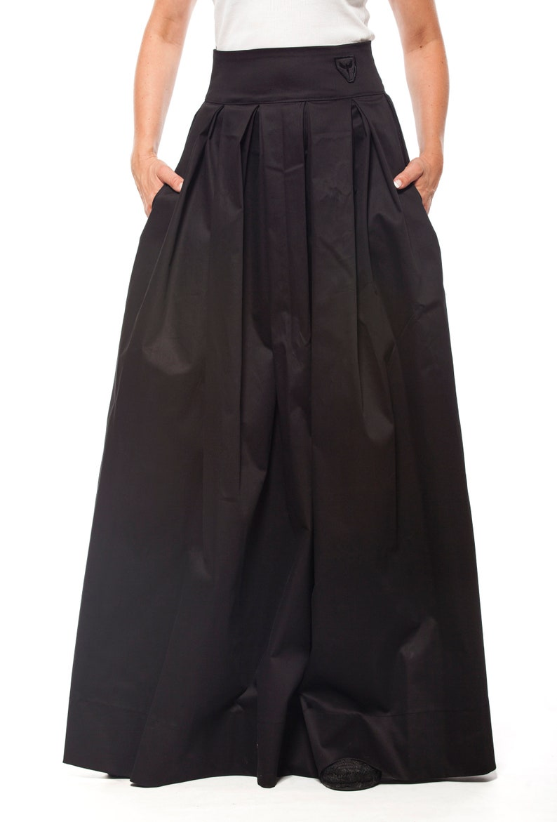 2e7c347e6d4 Black Cotton Maxi Skirt With Pockets - Gomes Weine AG